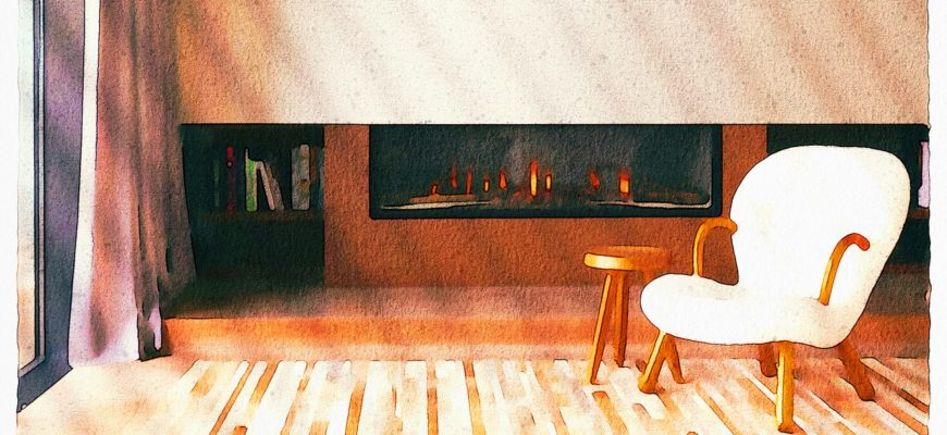 Living Room Watercolor Fireplace  - AnnaliseArt / Pixabay